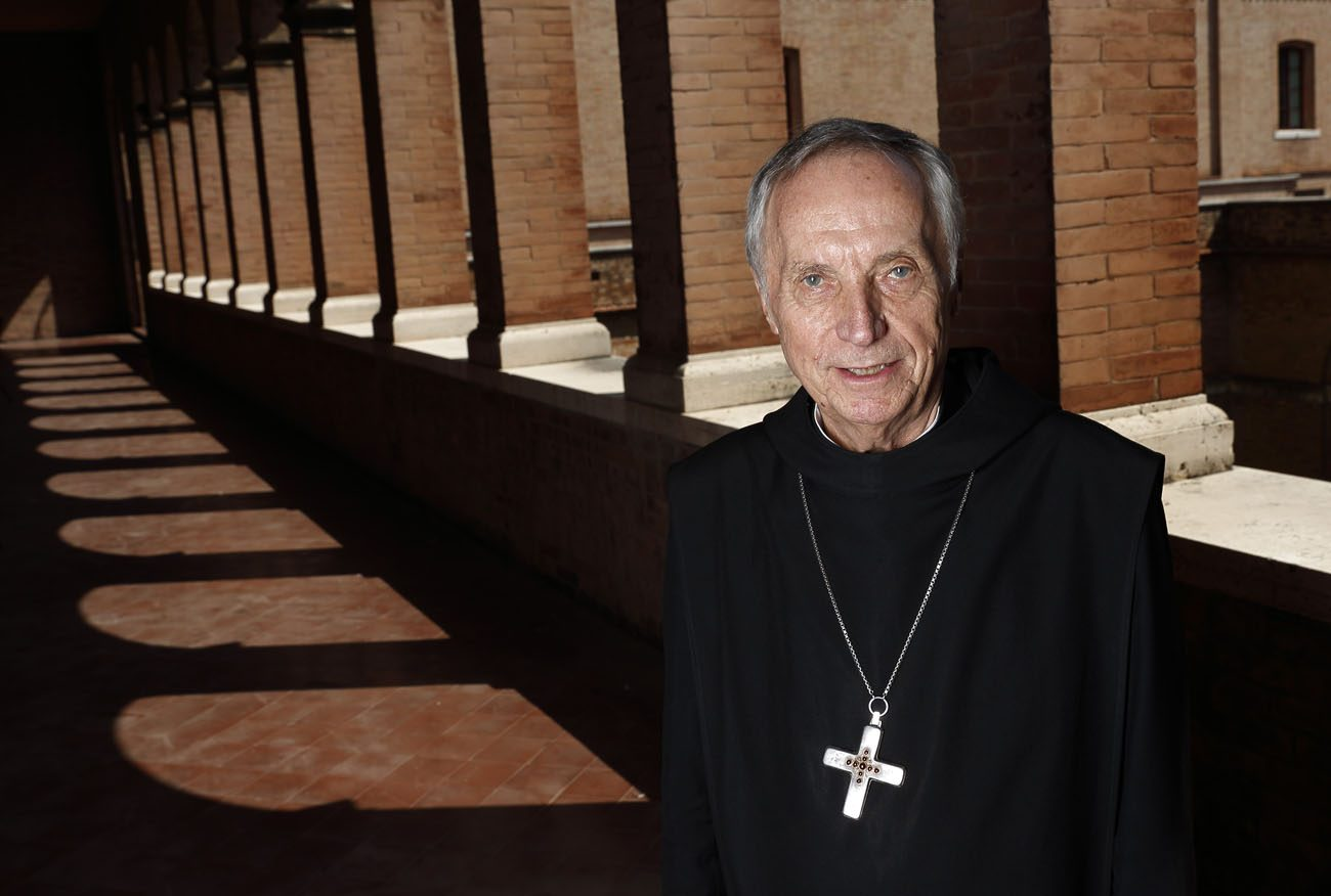 Abbot Primate Notker Wolf, superior of the Benedictine order, is pictured at St. Anselm Abbey in Rome Sept. 1. The heads of Benedictine monasteries are meeting in Rome Sept. 3-16 to elect a new abbot primate. Abbot Wolf has served in the role since 2000. (CNS photo/Paul Haring)