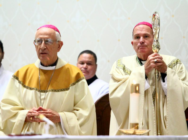 Vincentian Bishops David O'Connell (right) of Trenton and Alfonso Cabezas Aristizabal, in residence in Brooklyn, celebrate their congregation's anniversary Mass.