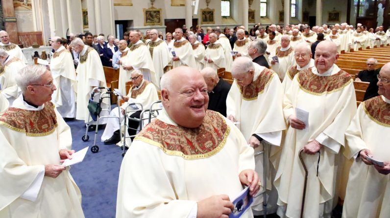 Vincentian Father Carl Pieber, executive director of the Miraculous Medal Shrine in Germantown, celebrates with his Vincentian confreres their 200 years' service in America Sept. 24 at the shrine. (Sarah Webb)