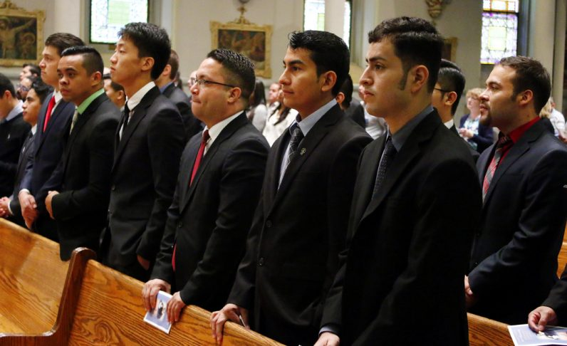 Vincentian seminarians attend the Mass Sept. 24, observing their order's anniversary in America.