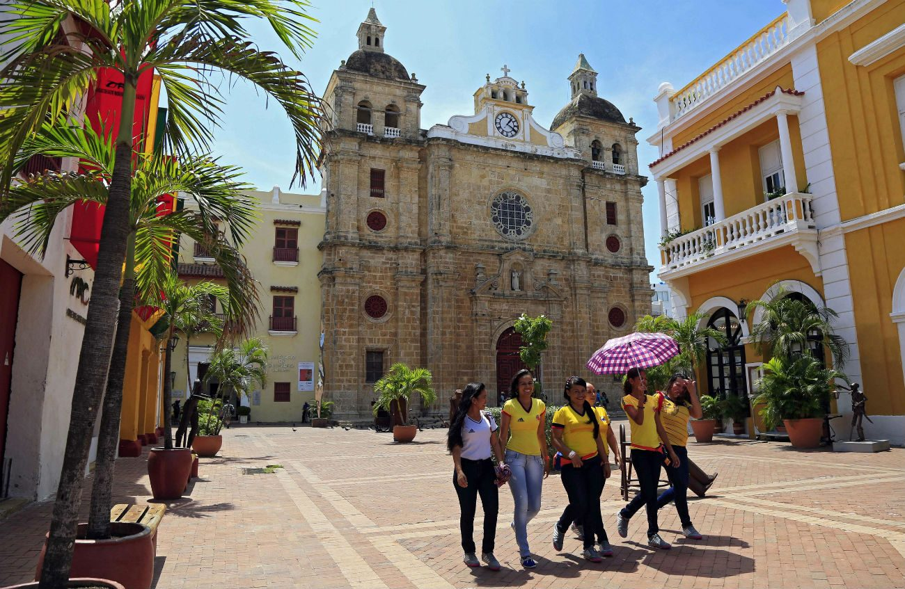 St. Peter Claver Church in Cartagena, Colombia, is seen Sept. 5. About 2,500 people had gathered in the church Sept. 26 to pray for peace before Colombian government officials and rebel leaders signed a peace agreement. (CNS photo/Ricardo Madonado Rozo, EPA)
