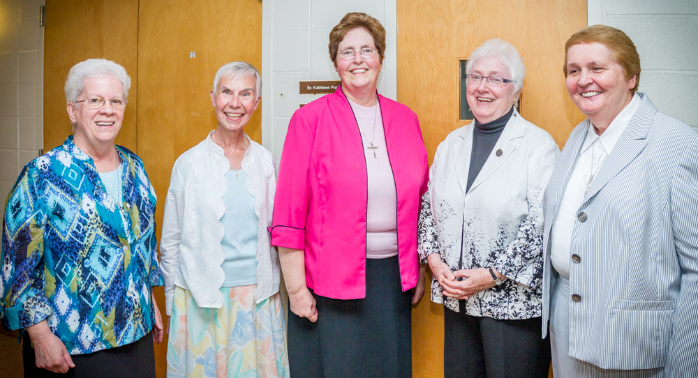 Members of the current Leadership Council of the Grey Nuns in the Philadelphia Archdiocese include (from left) Sister Mary Elizabeth Looby, Sister Diane Bardol,  Sister Julia C. Lanigan (president), Sister Cecelia Cosgrove, and Sister Elizabeth Dawn Gear.