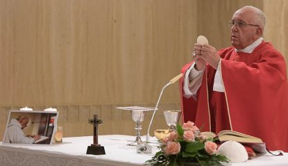 Pope Francis celebrates a memorial Mass for Father Jacques Hamel in the chapel of the Domus Sanctae Marthae at the Vatican Sept. 14. (CNS photo/L'Osservatore Romano)