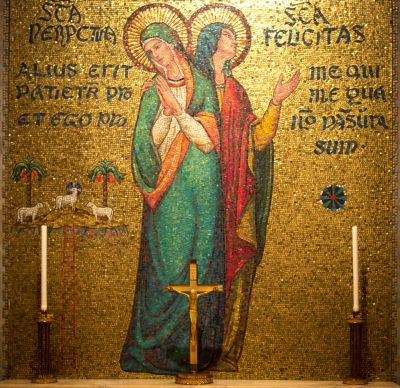 A mosaic of martyrs Perpetua and Felicity adorns a chapel wall in the Basilica of the National Shrine of the Immaculate Conception in Washington, in this Sept. 28 photo. The early Church Mothers -- like the Church Fathers of whom we've heard so much -- were influential in the first few centuries of our Christian development. (CNS photo/Chaz Muth)