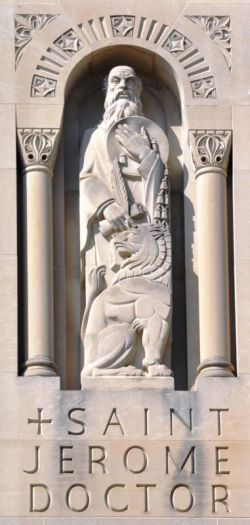 A statue of St. Jerome, one of the Fathers of the Church, is encased in a wall at the Basilica of the National Shrine of the Immaculate Conception in Washington. (CNS photo/Greta Haussmann, Basilica of the National Shrine of the Immaculate Conception)