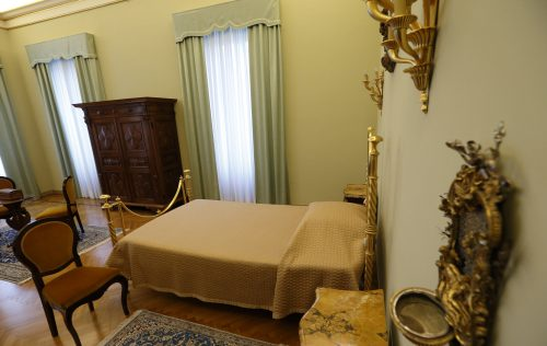The pope's bedroom is pictured in the papal villa at Castel Gandolfo, Italy, Oct. 21. Private areas of the papal villa are now open to the public.  (CNS photo/Paul Haring)