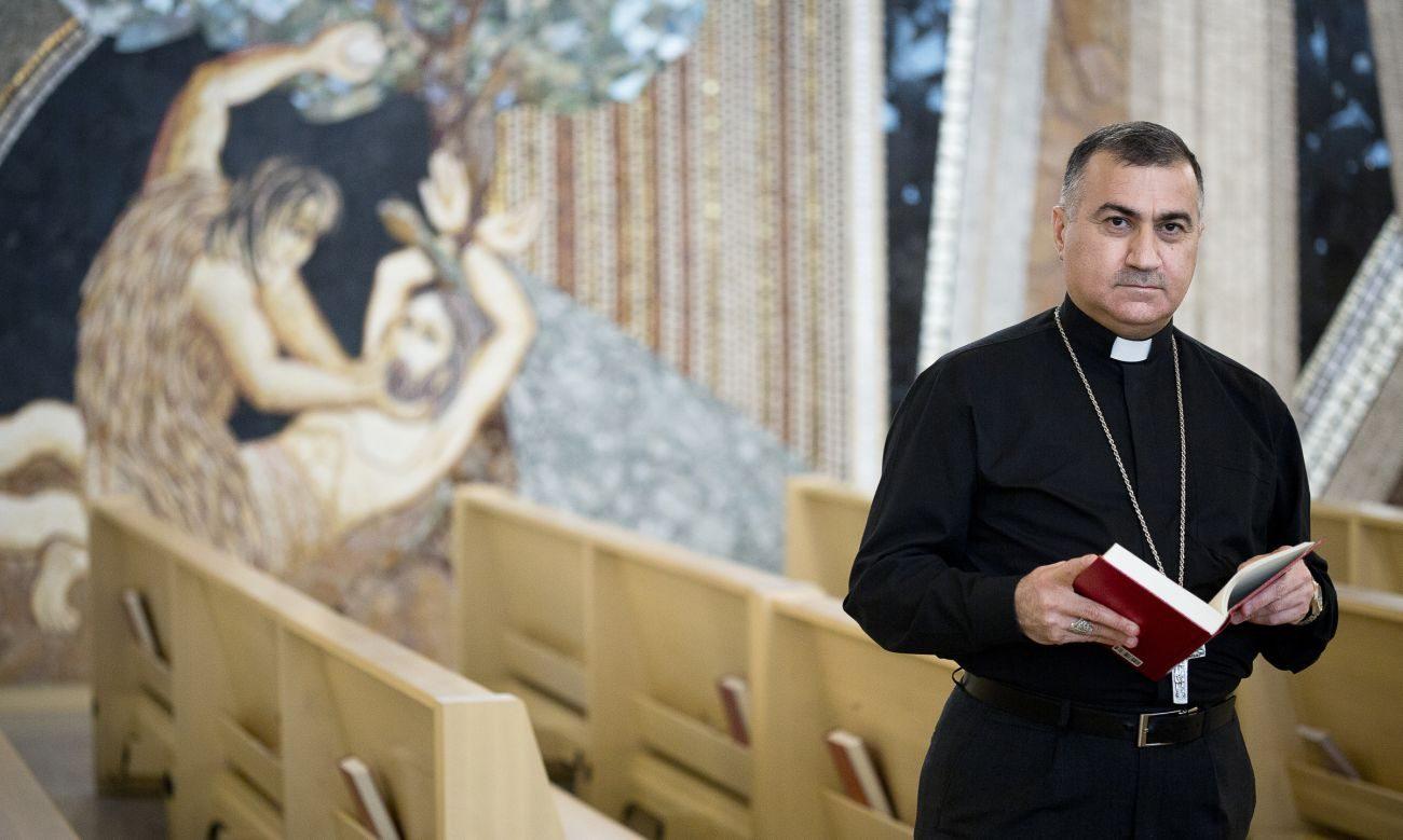 Chaldean Catholic Archbishop Bashar Warda of Irbil, Iraq, poses for a photo at the St. John Paul II National Shrine in Washington Oct. 20. (CNS photo/Tyler Orsburn)