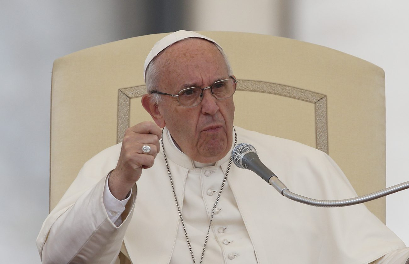 Pope Francis gestures during his general audience in St. Peter's Square at the Vatican Oct. 26. (CNS photo/Paul Haring)