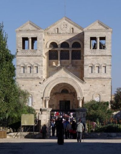 People enter the Church of the Transfiguration in 2007 in the Israeli region of Galilee. Police and church officials are treating a break-in at the church as a criminal matter. (CNS photo/Greg Tarczynski)
