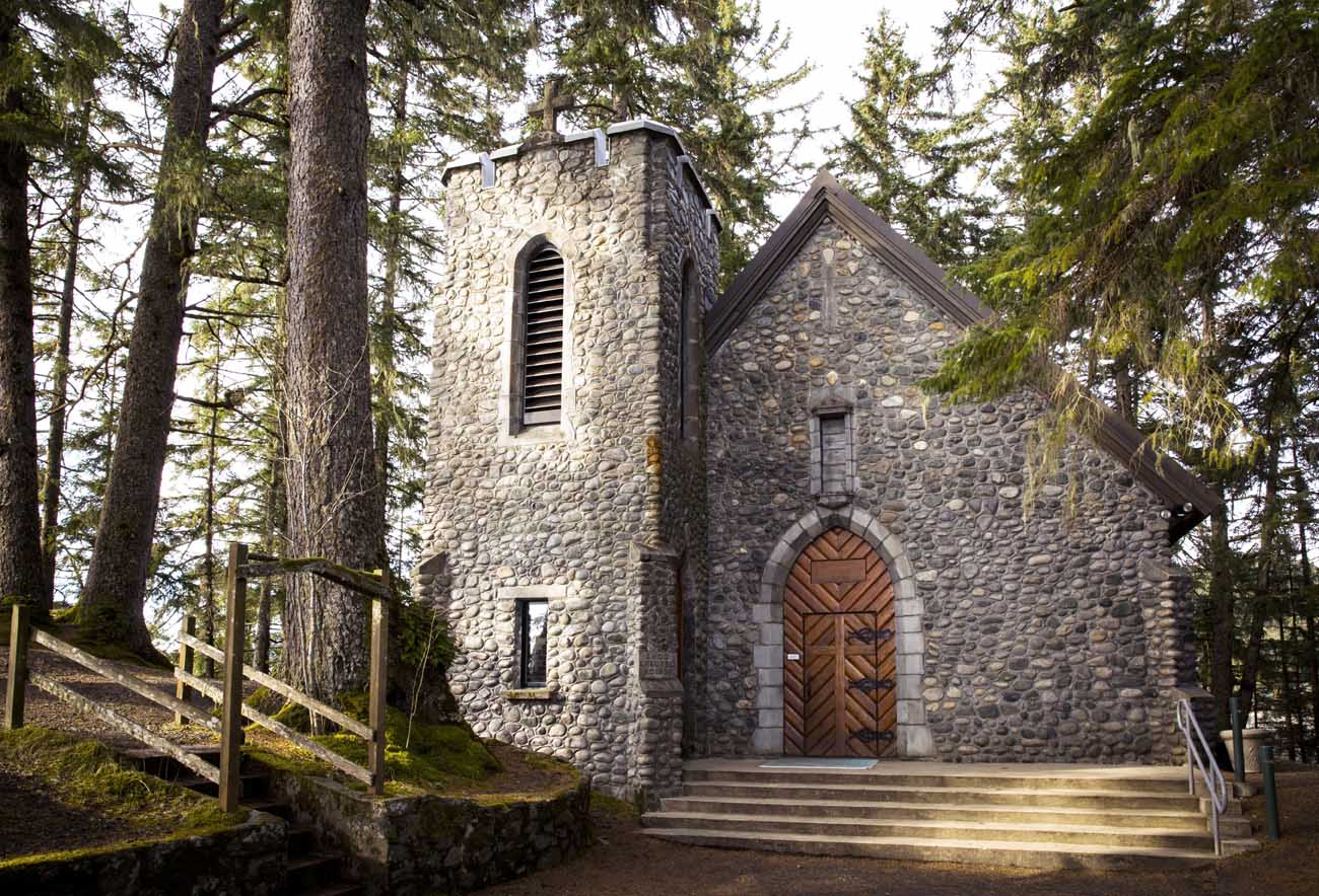 The chapel at the Shrine of St. Therese in Juneau, Alaska, seen in a 2014 photo, is constructed of beach stone plucked from the surrounding shoreline. The place of retreat with breathtaking views was designated a national shrine by the U.S. bishops Oct. 1. (CNS photo/Nancy Wiechec)