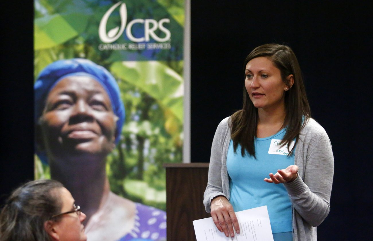Cheryl Mrazik of Catholic Relief Services' Northeast/Mid-Atlantic region explains the Parish Ambassador Corps to representatives of 16 participating parishes in the Philadelphia Archdiocese Oct. 14 at St. Charles Seminary. (Photo by Sarah Webb)