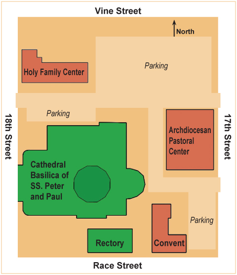 The block features a 200-car parking lot, archdiocesan office buildings, the cathedral, a rectory and convent. (Graphic by Barbara Hagan)