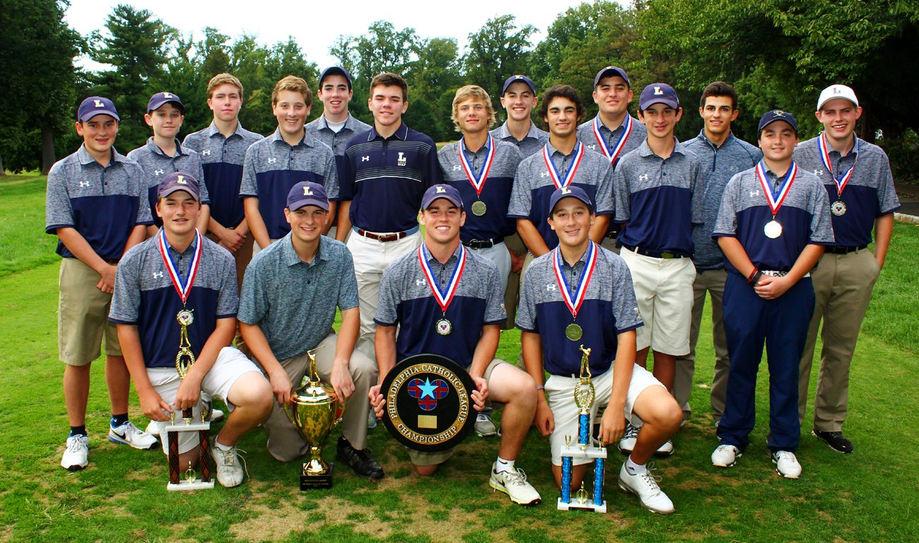 Along with individual honors, the Explorers of La Salle took home the Catholic League golf championship trophy on Oct. 4 at Melrose Country Club in Cheltenham. (Photo by Sarah Webb)
