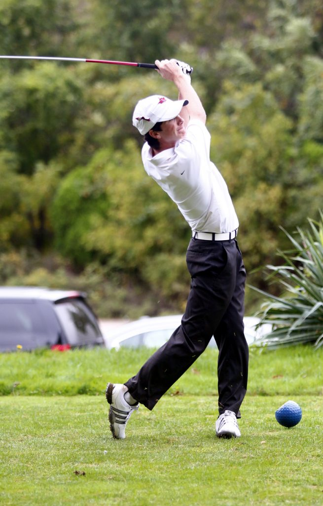 The Prep's Andrew Gallagher tees off during the Catholic League Championship tournament.