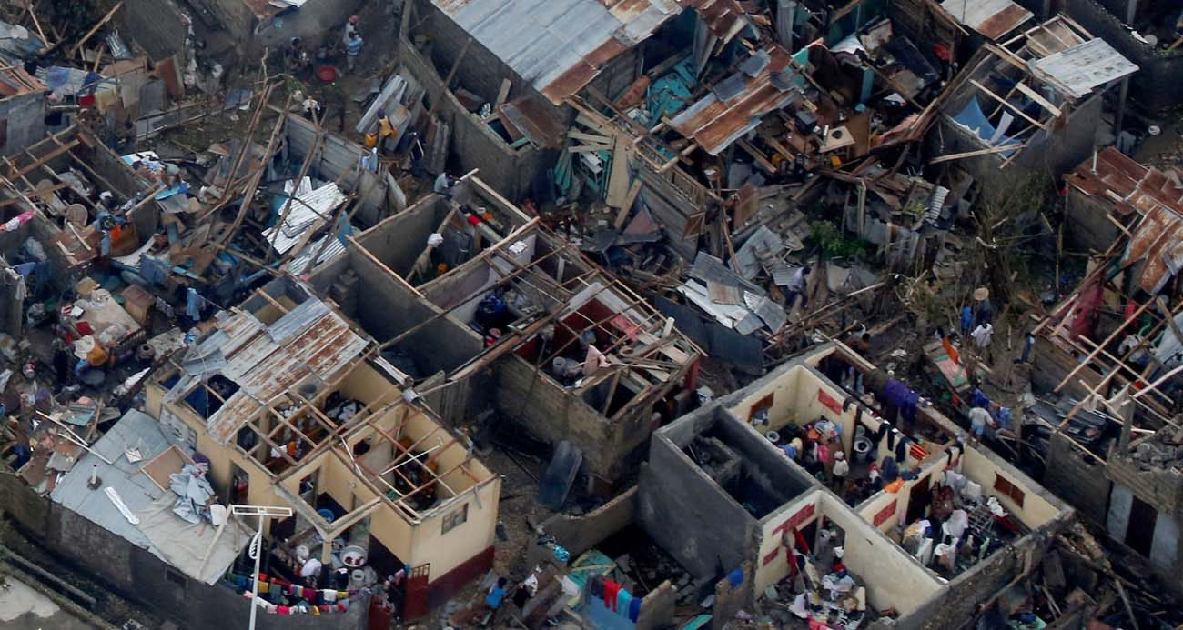 Destroyed homes are seen Oct. 5 after Hurricane Matthew swept through Jeremie, Haiti. Rescue workers in Haiti are struggling to reach parts of the country cut off by Hurricane Matthew, the most powerful Caribbean storm in nearly a decade. (CNS photo/Carlos Gar