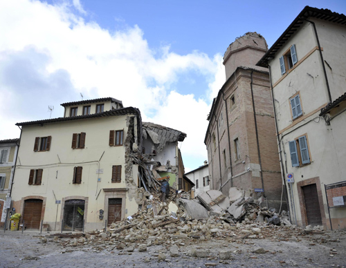 Rubble and destroyed homes are seen Oct. 27 after an earthquake in Camerino, near Macerata, Italy. (CNS photo/Christiano Chiodi, EPA)
