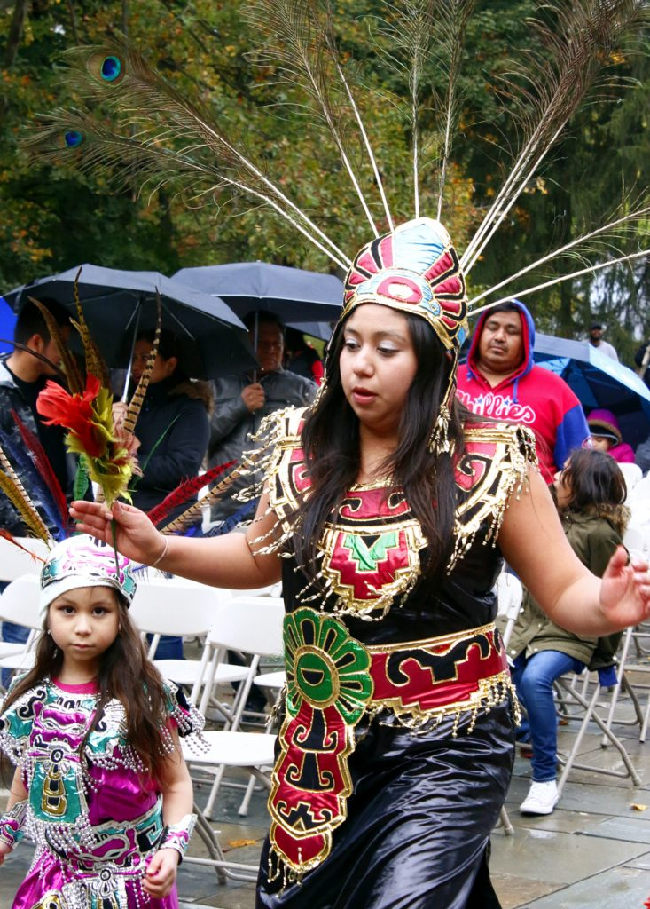 Folk dancers from St. Mark Parish in Sea Grit, N.J., perform in front of the Our Lady of Guadalupe Shrine.
