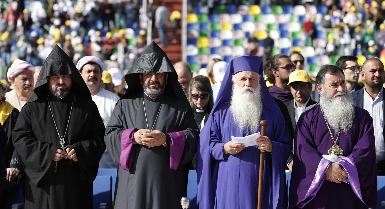 Religious leaders attend Pope Francis' celebration of Mass at Mikheil Meskhi Stadium in Tbilisi, Georgia, Oct. 1. (CNS photo/Paul Haring)