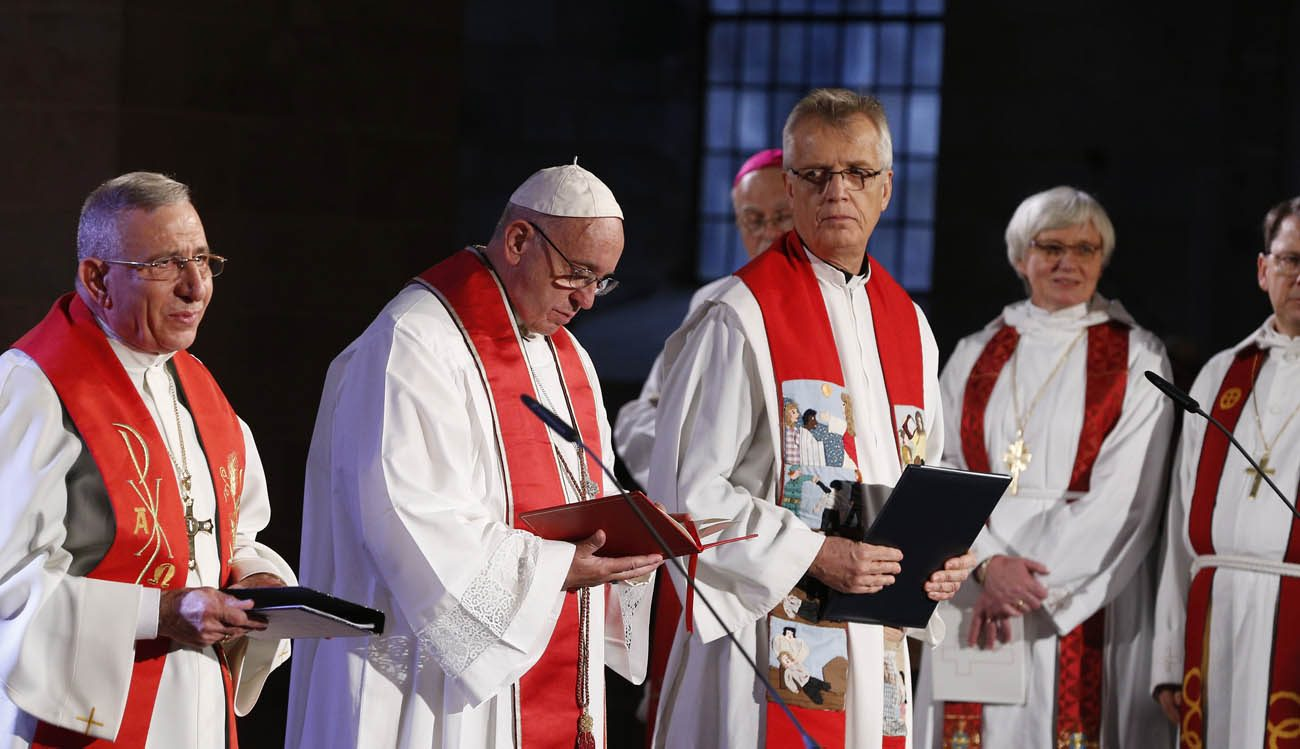 Pope Francis and the Rev. Martin Junge, general secretary of the Lutheran World Federation, attend an ecumenical prayer service at the Lutheran cathedral in Lund, Sweden, Oct. 31. (CNS photo/Paul Haring)