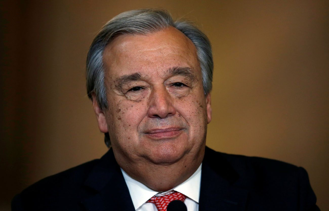 "Former Portuguese prime minister Antonio Guterres speaks during an Oct. 6 news conference at Necessidades Palace in Lisbon after being nominated as United Nations secretary-general. The Portuguese Bishops Conference praised Guterres for his ""deep sense of humanity and faith"" after his nomination. (CNS photo/Rafael Marchante, Reuters)"