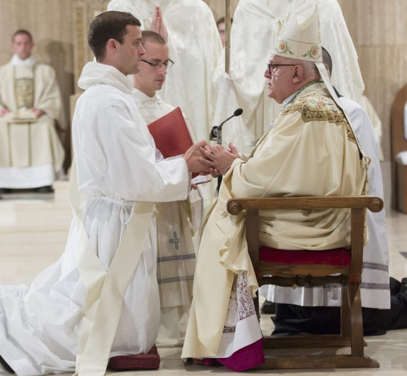 Father Gregory Pine is ordained a Dominican priest by Archbishop Joseph DiNoia May 21 in the Basilica of the National Shrine of the Immaculate Conception in Washington, D.C. (Photo by Father Lawrence Lew, OP)