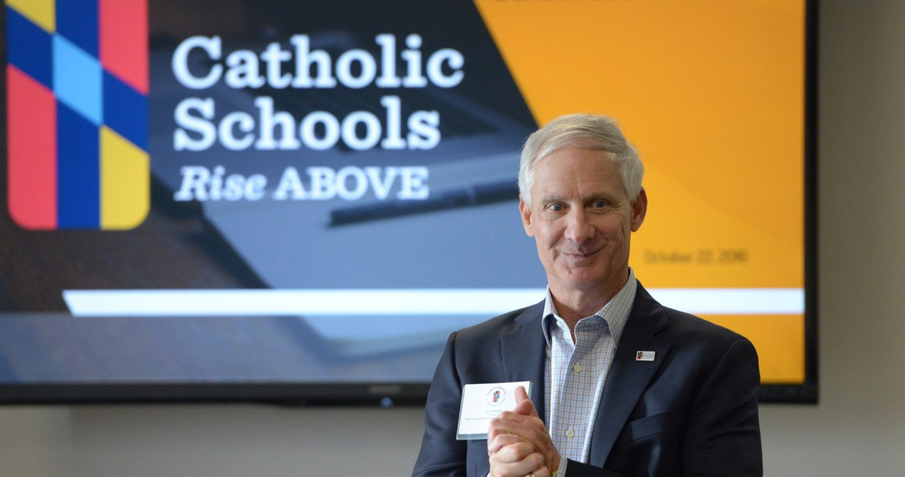 James B. Sellinger, chancellor for education for the Archdiocese of Baltimore, speaks at the archdiocese's second annual Leadership Summit for Catholic school board members Oct. 22 at Loyola University Maryland in Baltimore. (CNS photo/Kevin J. Parks, Catholic Review)