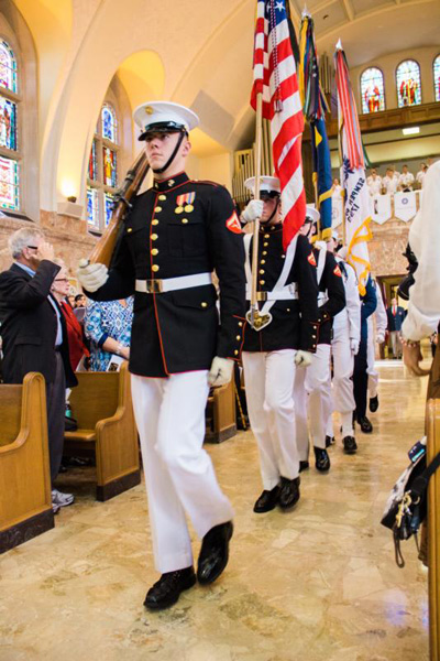 The U.S. military's Joint Ceremonial Color Guard leads the opening procession for the Pilgrimage of the Sea Services Mass Oct. 2 at the Basilica of the National Shrine of St. Elizabeth Ann Seton in Emmitsburg, Md. (CNS photo/courtesy Seton Shrine)