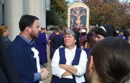 Director of Religious Education for St. William's, Immaculate Heart Sister Bernadette Taraschi, chats with participants prior to the procession. (Gina Christian)