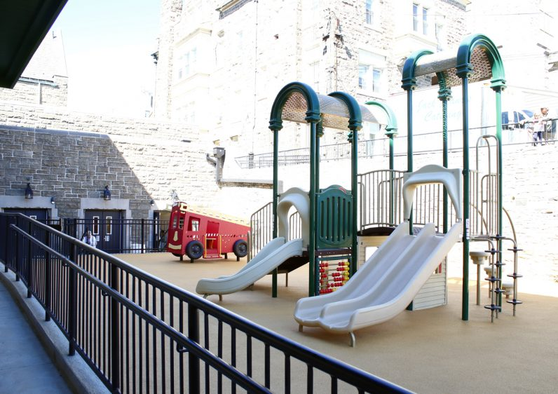 The new outdoor playground will serve as a safe place for the children of the preschool program to play.