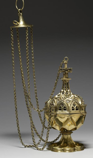 This censer made in Germany is typical of the style popular in Western Europe at the end of the 15th century. The intersecting raised bands mimic the complex vaulting systems used in late Gothic churches, and the openwork areas are reminiscent of the tracery found in the windows of these buildings.(CNS photo/courtesy Walters Art Museum)