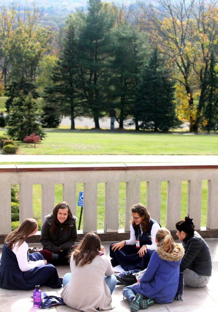 Youth track participants used the beautiful grounds of the shrine and nice weather to talk in their breakout sessions.