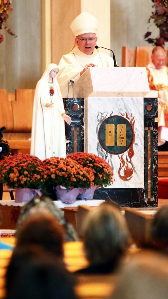"Archbishop Chaput preaches during Mass for women at the conference with the Marian theme, ""Mother of Mercy, Make Our Hearts like Yours!"""