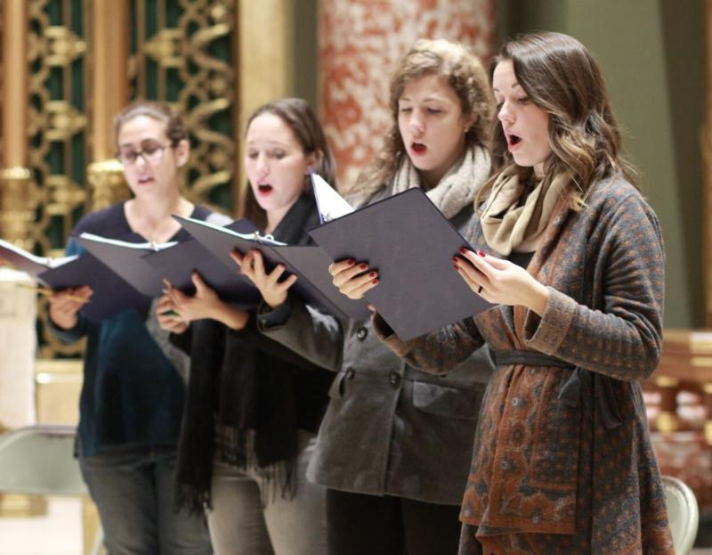 "Amanda Sidebottom, Elizabeth Merrill, Grace Bernardo and Clare Maloney, members of the Choir of the Church of Our Saviour in New York City, record music at the church in October, 2015, for ""Hark! A Thrilling Voice Is Sounding,"" a CD of sacred Advent and Christmas music released last year. Advent is a time for serious reflection on our lives as disciples of Jesus, whose return we are called not simply to expect but to prepare for -- with great care as well as great joy. (CNS photo/Harold Levine, courtesy Church of Our Saviour)"