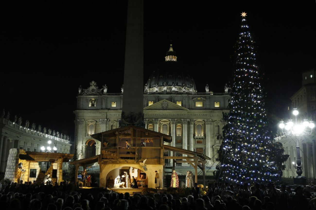 The Christmas tree and Nativity scene decorate St. Peter's Square during a lighting ceremony at the Vatican Dec. 18, 2015. (CNS photo/Paul Haring)