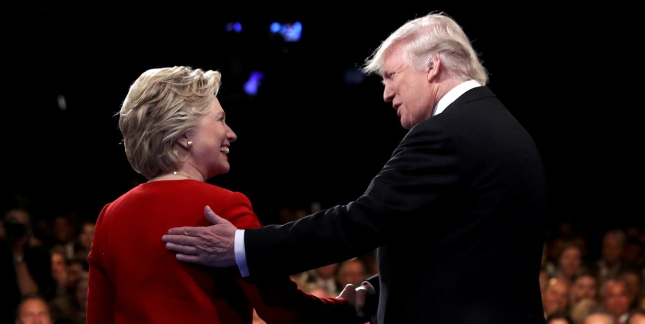 U.S. Democratic presidential nominee Hillary Clinton and Republican presidential nominee Donald Trump greet each other at the start of their first presidential debate Sept. 27 at Hofstra University in Hempstead, N.Y. (CNS photo/Joe Raedle pool via Reuters)