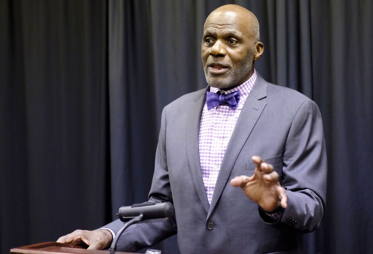 Former Minnesota State Supreme Court Justice and NFL Hall of Fame inductee Alan Page speaks at a Sept. 22 news conference prior to the Siouxland Chamber of Commerce 31st annual dinner in Sioux City, Iowa. In his dinner keynote, he talked about the role of his Catholic faith in his life. (CNS photo/Jerry L Mennenga, The Catholic Globe)