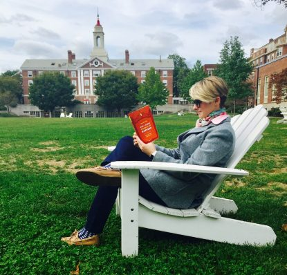 "Aurora Griffin, author of ""How I Stayed Catholic at Harvard,"" relaxes on the lawn at the famed Ivy League university."