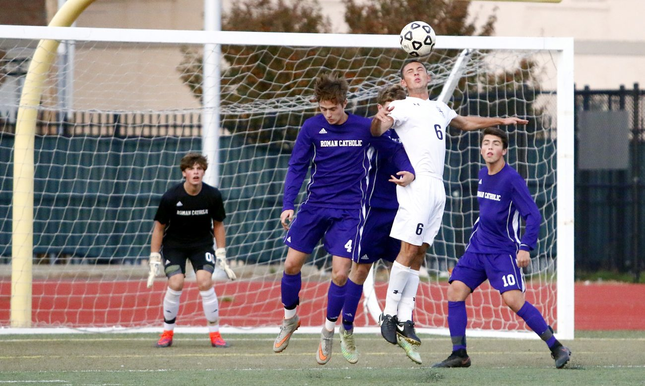 Senior Mike D'Angelo gave La Salle a 1-0 lead 6:06 into the game when he flicked a long free kick behind Roman freshman goalie Kevin Tobin during the Catholic League soccer final Oct. 29 in South Philadelphia. (Sarah Webb)