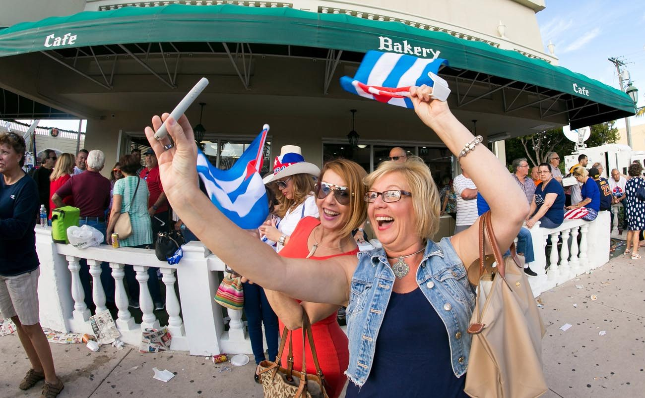 Women take a selfie in Miami's Little Havana Nov. 26. The death of former Cuban leader Fidel Castro triggered both excitement and a more subdued reaction among Cuban exiles in Miami. (CNS photo/Tom Tracy)