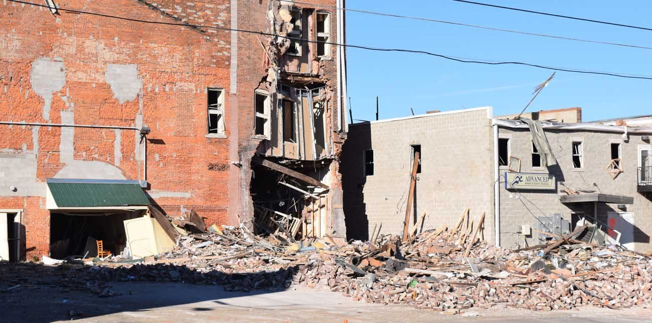 The back of the opera house in Canton, Ill., is seen Nov. 20, four days after a natural gas explosion unnerved the community. (CNS photo/Tom Dermody, The Catholic Post)
