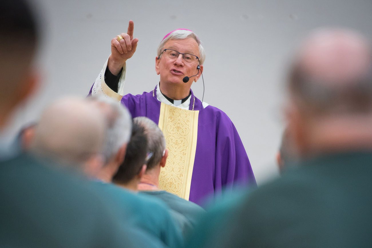 Bishop David L. Ricken of Green Bay, Wis., addresses inmates Nov. 2 at the Redgranite Correctional Institution in Wisconsin. CNS photo/Sam Lucero, The Compass)