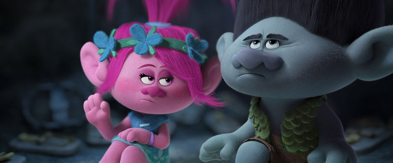 "Animated characters Poppy, voiced by Anna Kendrick. and Branch, voiced by Justin Timberlake, appear in the movie ""Trolls."" (CNS photo/DreamWorks)"