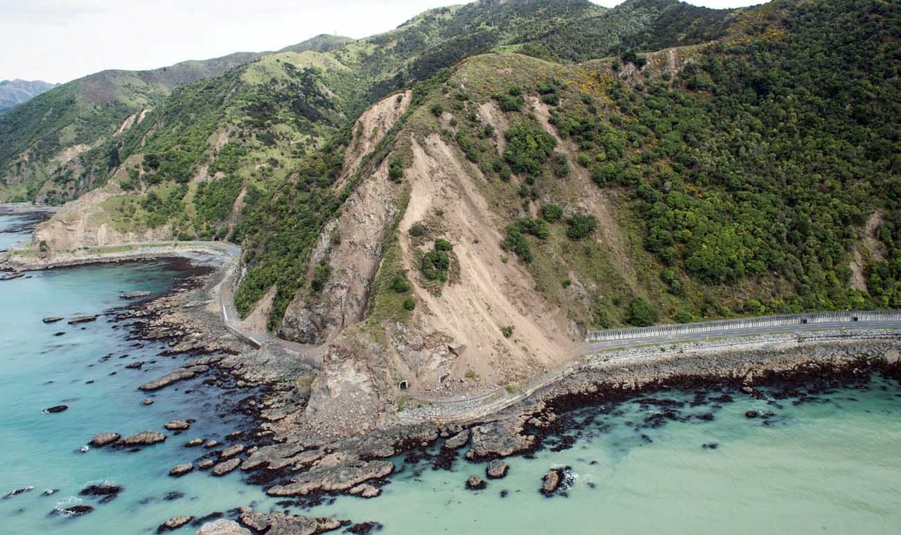 Landslides block State Highway One near Kaikoura, New Zealand, on Nov. 15, a day after a strong earthquake shook the area. (CNS photo/ Royal New Zealand Defence Force via Reuters)