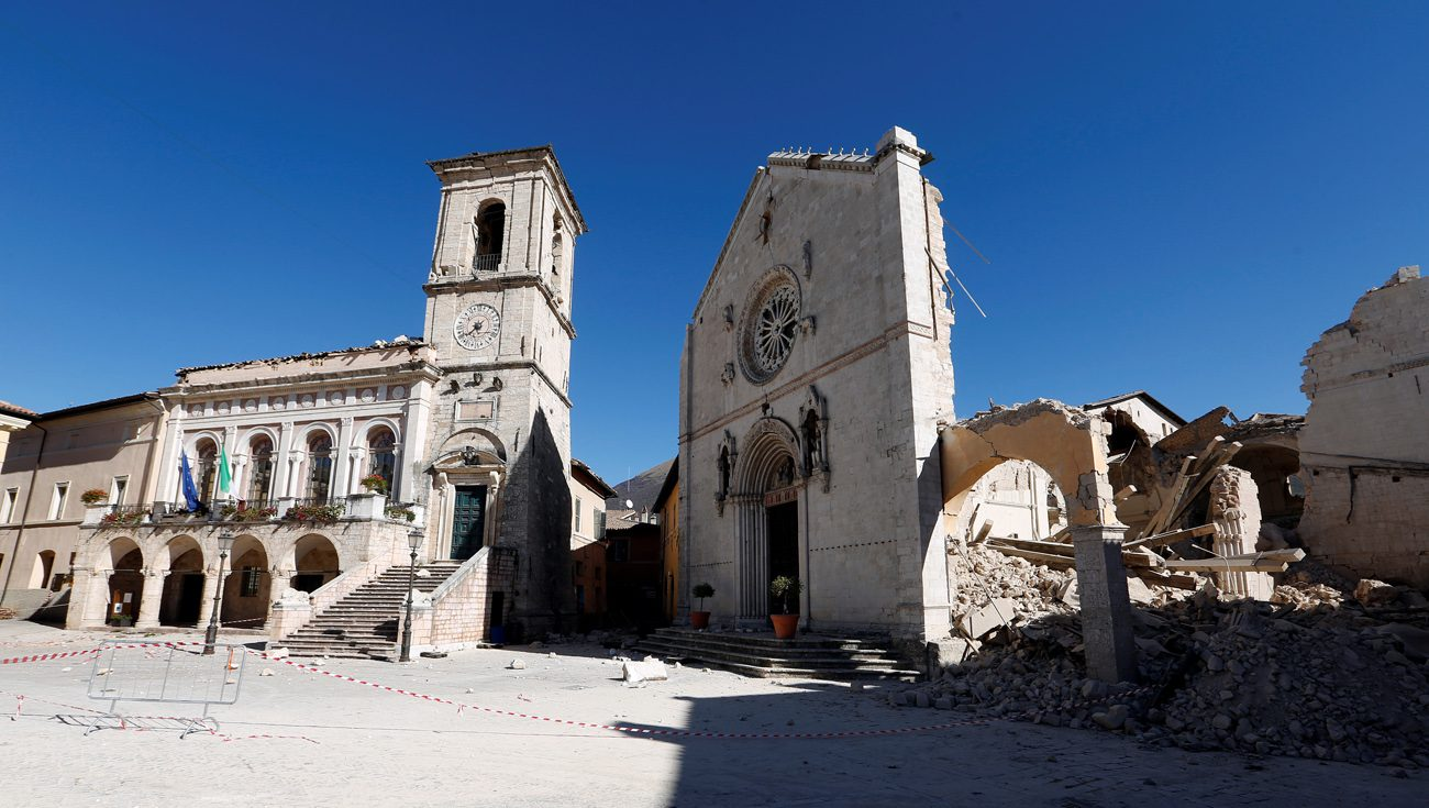 The Basilica of St. Benedict in the ancient city of Norcia is seen Oct. 31 following an earthquake in central Italy. (CNS pohoto/Remo Casilli, Reuters)