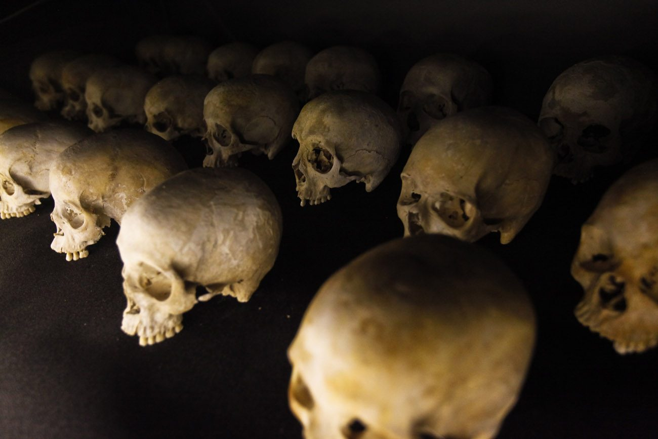 The skulls of victims of the 1994 genocide in Rwanda are seen at the Kigali Memorial Center in Kigali, Rwanda, in this 2012 file photo. In a letter to mark the end of the Year of Mercy, Rwanda's Catholic bishops asked forgiveness for Catholics' role in the genocide, in which more than 800,000 people -- mostly Tutsis -- were killed. (CNS photo/Dai Kurokawa, EPA)