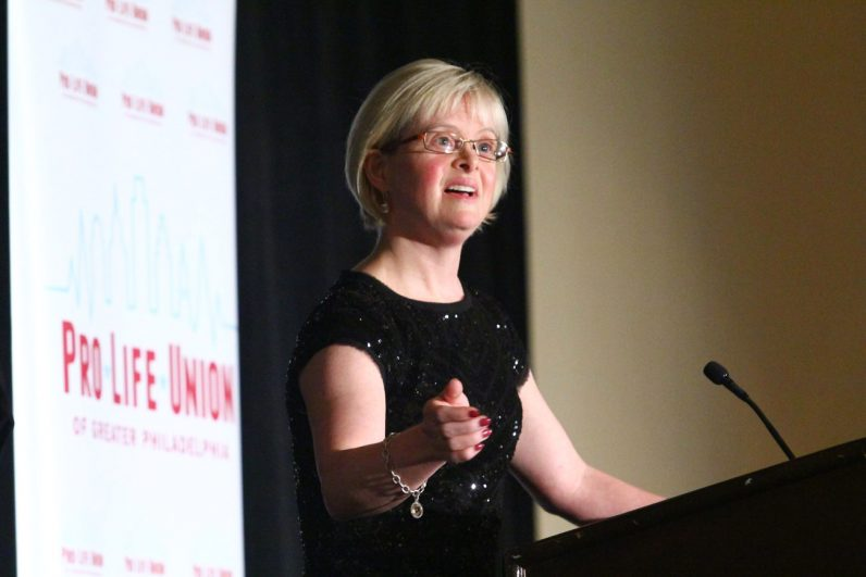 The dinner's keynote speaker, Karen Gaffney, has Down syndrome, but that doesn't keep her from speaking eloquently to audiences in support of people with the intellectual disability.