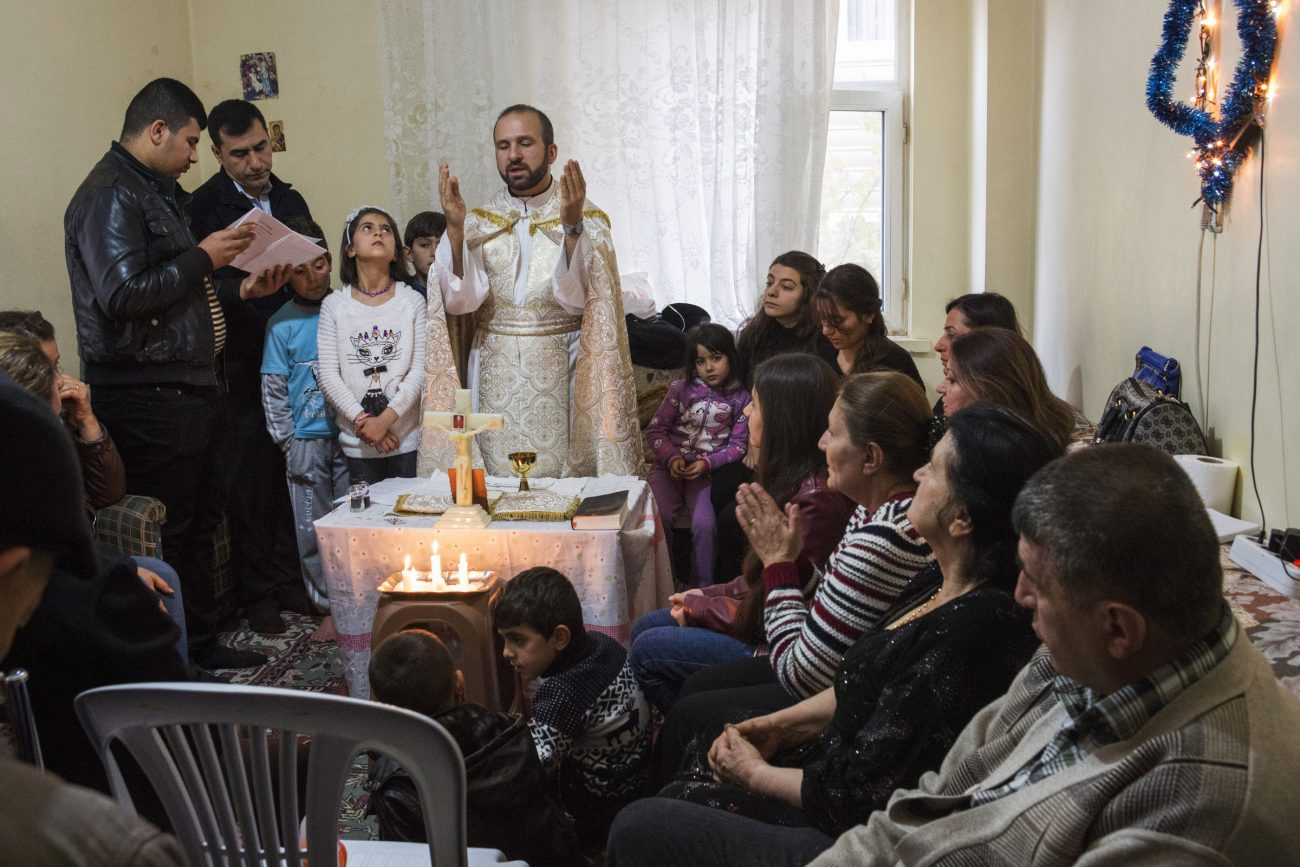 Chaldean Father Remzi Diril, also known as Father Adday, celebrates Mass at an apartment in Kirsehir, Turkey, Nov. 10. (CNS photo/Oscar Durand)