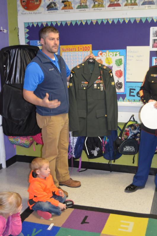U.S. Army Spec. Joe Holdren explains about his uniform to Jama Budke's class during a Sept. 30 visit to St. John Catholic School in Beloit, Kan. (CNS photo/ courtesy St. John Catholic School)