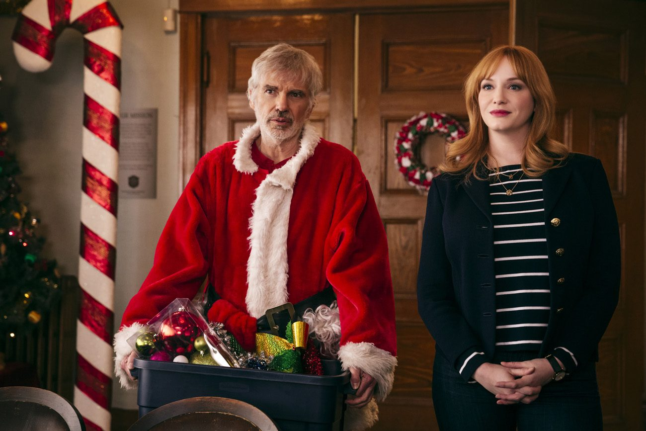 "Billy Bob Thornton and Christina Hendricks star in a scene from the movie ""Bad Santa 2."" The Catholic News Service classification is O -- morally offensive. The Motion Picture Association of America rating is R -- restricted. Under 17 requires accompanying parent or adult guardian. (CNS photo/Santamax Distribution)"