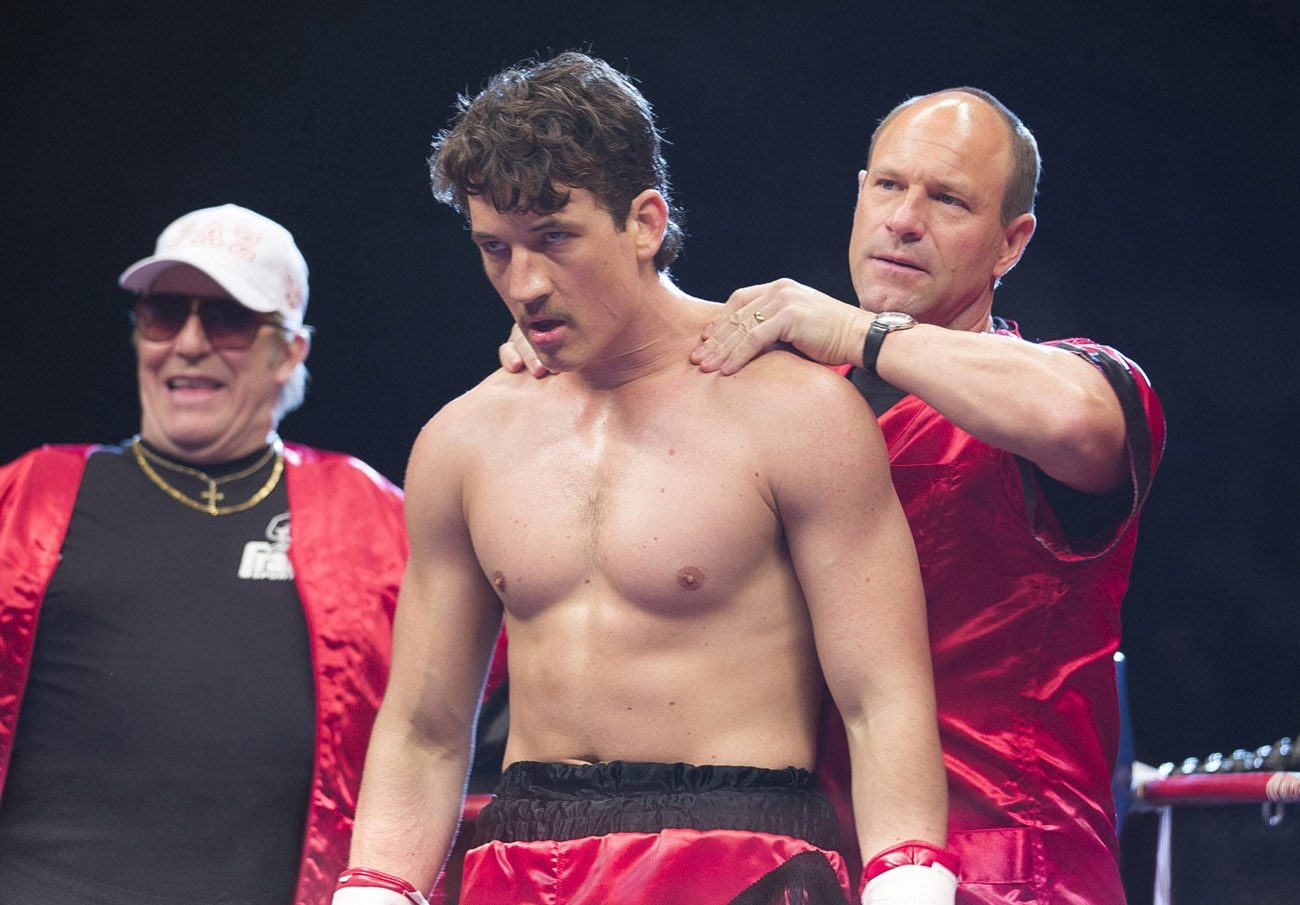 "Ciaran Hinds, Miles Teller and Aaron Eckhart star in a scene from the movie ""Bleed For This."" The Catholic News Service classification is O -- morally offensive. The Motion Picture Association of America rating is R -- restricted. Under 17 requires accompanying parent or adult guardian. (CNS photo/Open Road Films)"